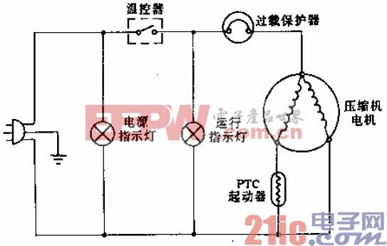 青莹牌BD-200型电冰箱电路.gif