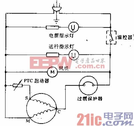 青冰牌BD-303型电冰箱电路.gif