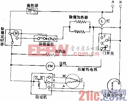 皇冠牌KR-198A型电冰箱电路.gif