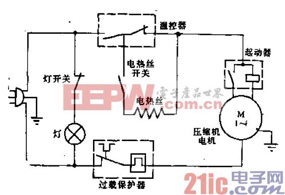 华日牌BCD-170、BCD-185、BCD-205型电冰箱电路.gif