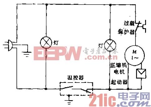华美牌BD-170型电冰箱电路.gif