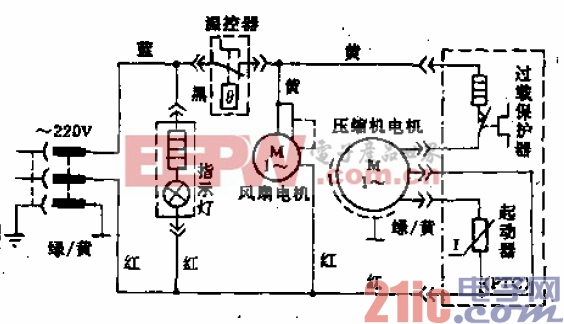 都乐牌BD-360A、BD-220A、BD-145A、B型电冰箱电路.gif