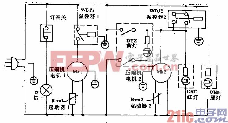 得贝牌FF40、BCD-274型电冰箱电路