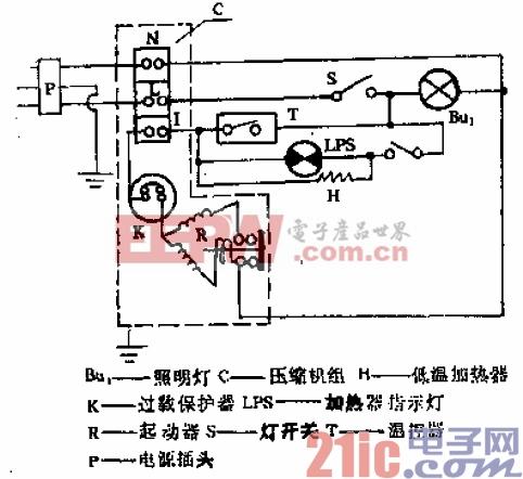 美菱-阿里斯顿牌BCD-161型电冰箱电路.gif