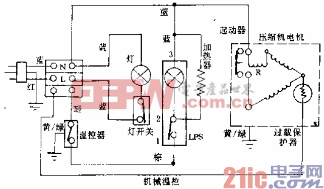 伯乐牌BCD-185、BCD-205型电冰箱电路.gif