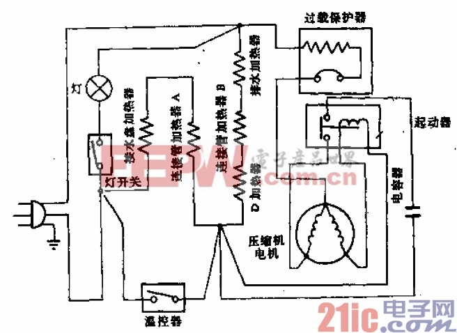 辽河牌BCD-181型电冰箱电路.gif