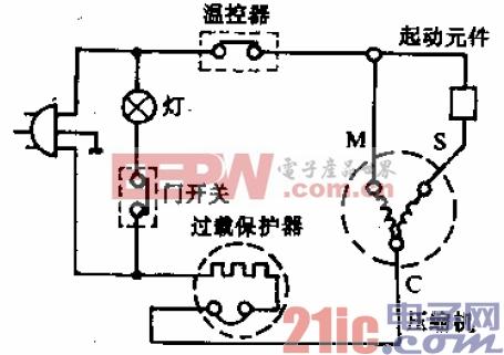 白云牌BYD-160A型电冰箱电路.gif