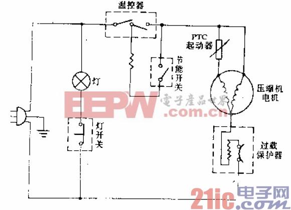 白云牌BCD-225A型电冰箱电路.gif