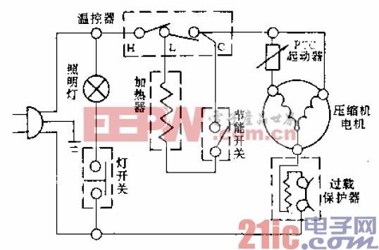 白云牌BCD-180A型电冰箱电路.gif