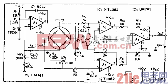 恒定电流驱动的电桥式传感器驱动-放大电路