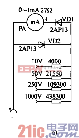 38.用毫安表组成的交流电压表电路a.gif