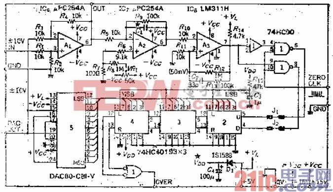 电压范围为±10V、具有12位分辨率的自动调零电路