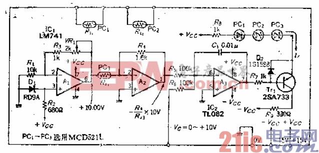 可在1.6kΩ至1.6MΩ范围内变化的电压控制可变电阻电路
