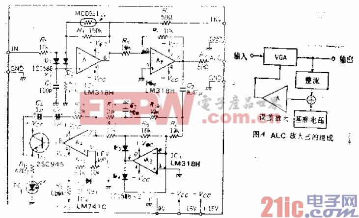 1kHz至1MHz频率范围内信号电压不变的ALC(自动电平控制)放大器