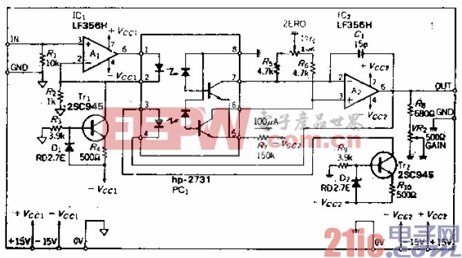 低输频带为DC至100kHz的DC伺服隔离放大器