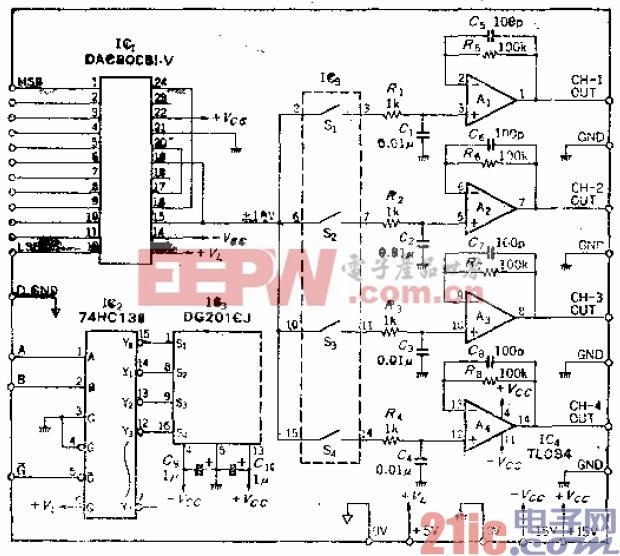 6.从一个D-A转换器上获得4路输出的译码多路切换电路.gif