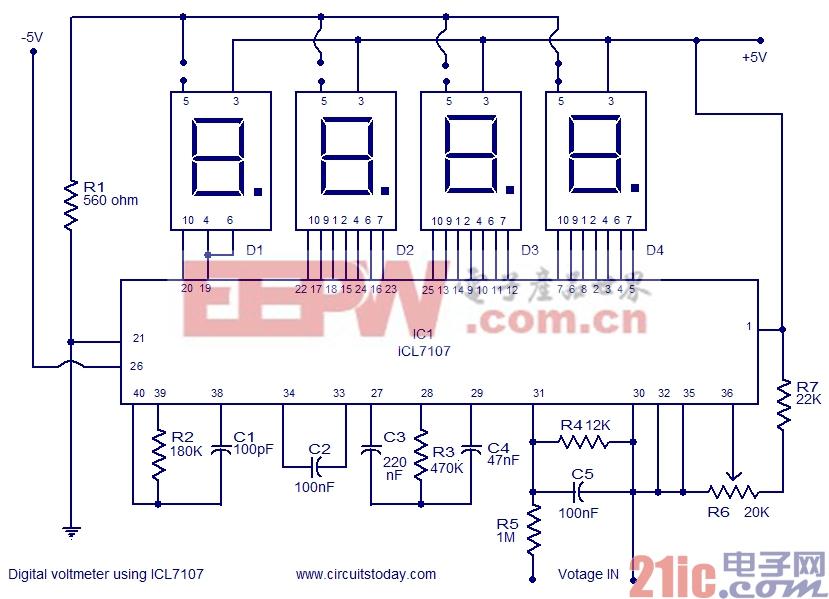 使用ICL7107数字电压表电路图