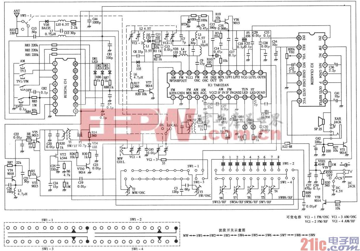 德生119700型高灵敏度l2波段立体声收音机电路图