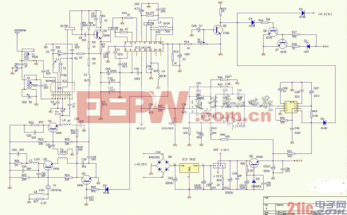 振荡器/该电路中,可被接收器探到的条幅广播频段产生条幅调制信号。...