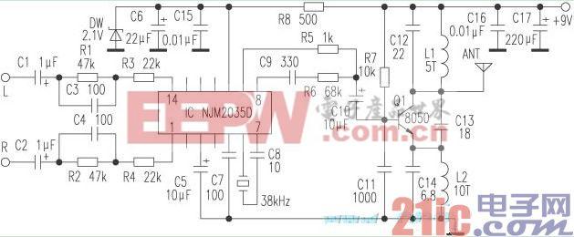 用调幅立体声频道变换器改装无线影音系统电路.jpg