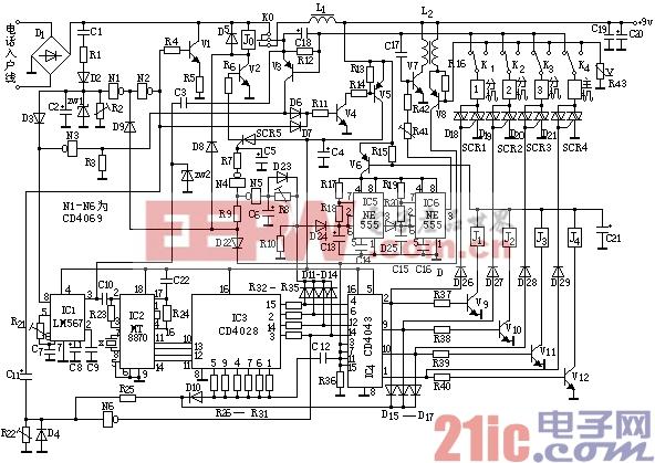 自制小型电话程控交换机电路图
