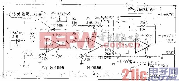 15.用恒流驱动传感器二极管以实现高精度的温度补偿电压发生电路.gif