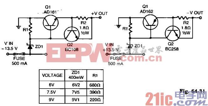 短路保护低电压稳压器电路图