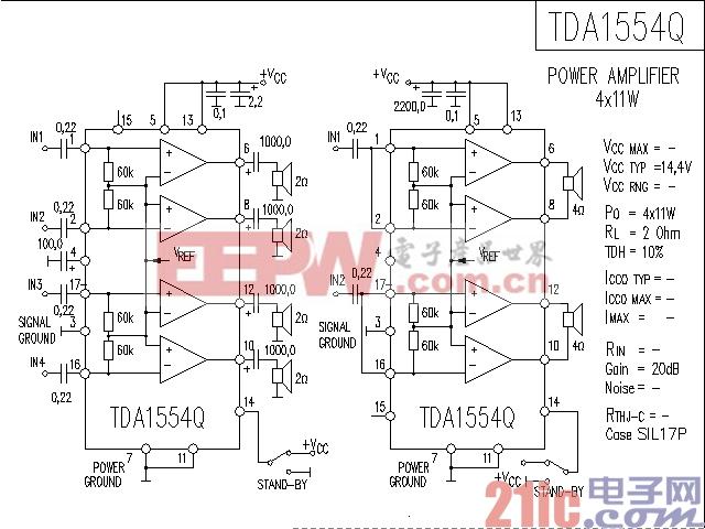 TDA1554Q功率放大器电路图