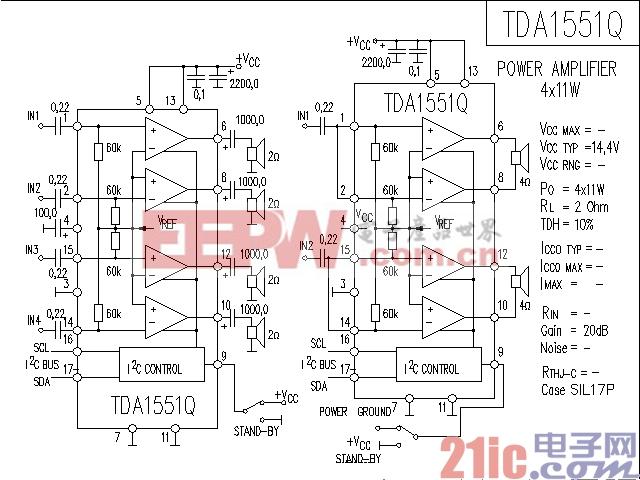 TDA1551Q功率放大器电路图