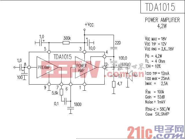 TDA1015功率放大器电路图