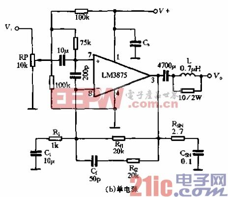 57.LM3875实用电路-单电源.gif