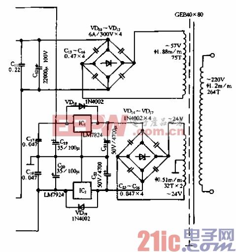 47.菱形差动BTL功放电路-电源.gif