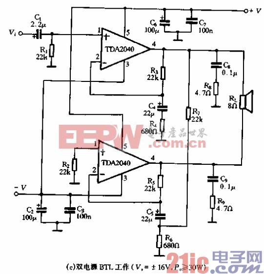 63.TDA2040(A)的应用电路-双电源BTL工作.gif