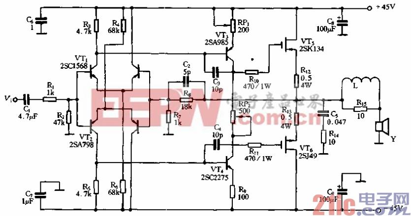 电路采用了十分简单的电路结构,但性能却十分优良,它的原理如图图片