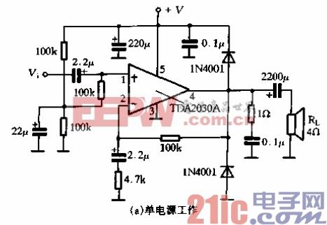 62.TDA2030A的应用电路-单电源工作.gif