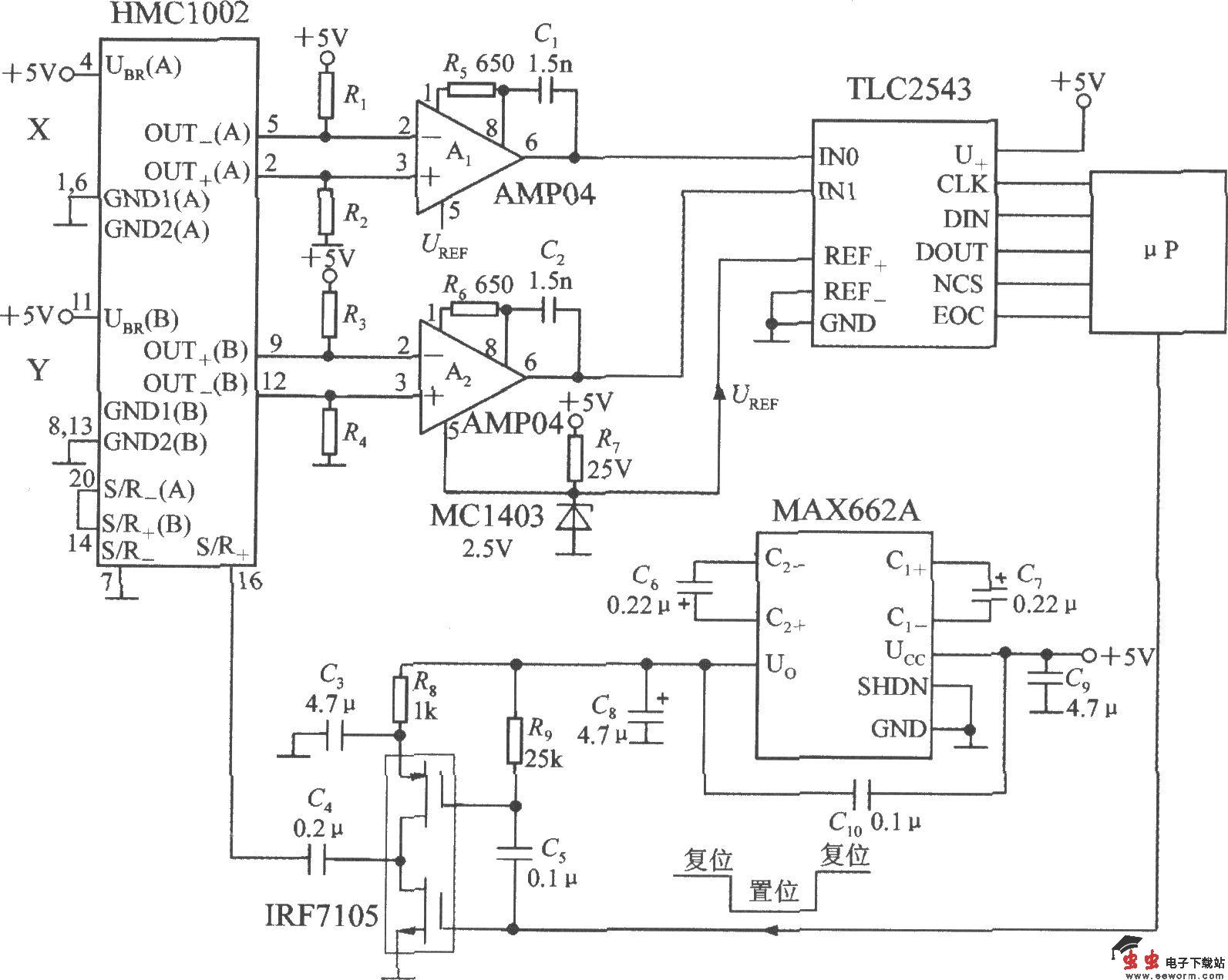 带S/R电路和串行接口的双轴磁场传感器应用电路