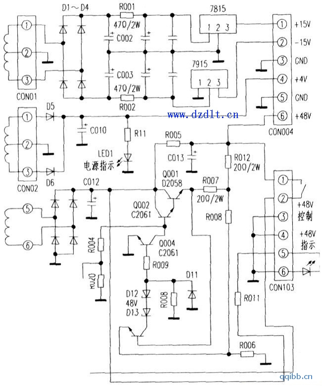 韩国英桥IUKEL MX-1634 16路调音台电源板原理图