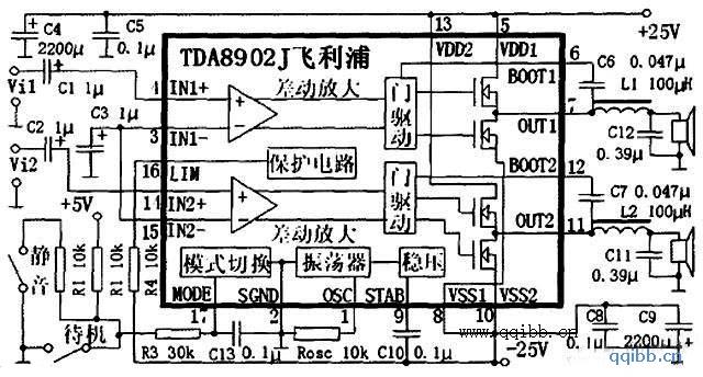 使用TDA8902J制作的数字功放电路图