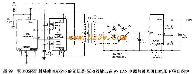 产生9V隔离电压的LAN电源