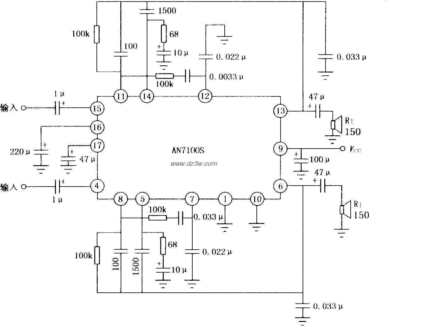 AN7100S双声道音频功率放