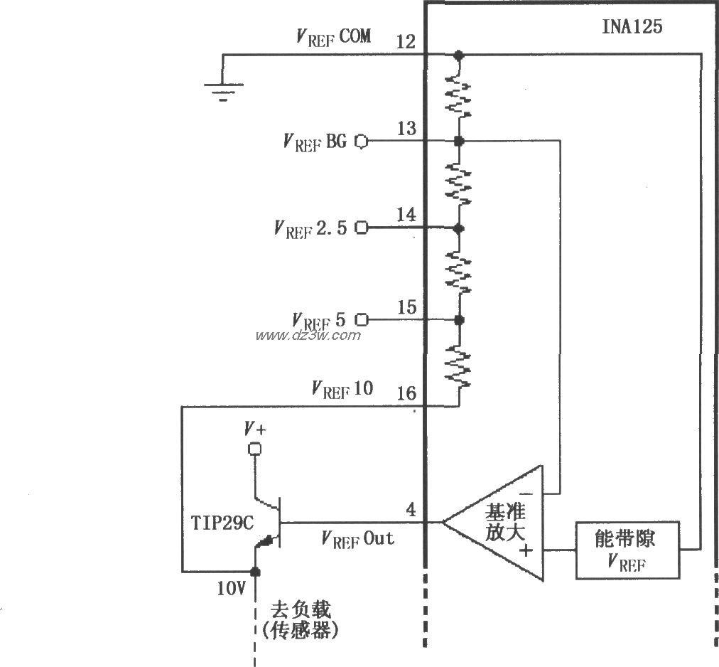 INA125的基准电源扩流电