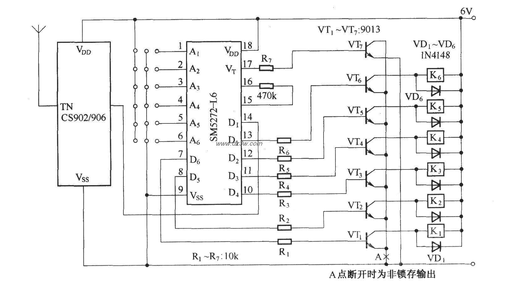 六路遥控接收电路(CS902