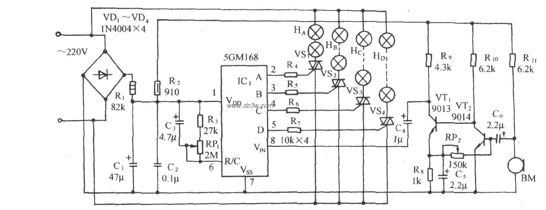 5GMl68音频压控节日彩灯
