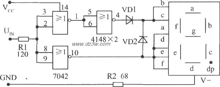 使用TTL或非门接成反相器