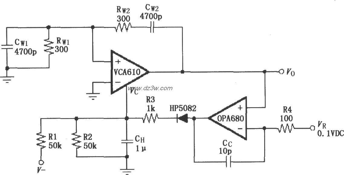 稳幅振荡电路(VCA610/OP