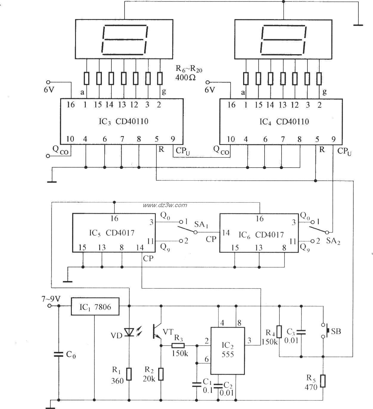 数字显示式光电计数电路