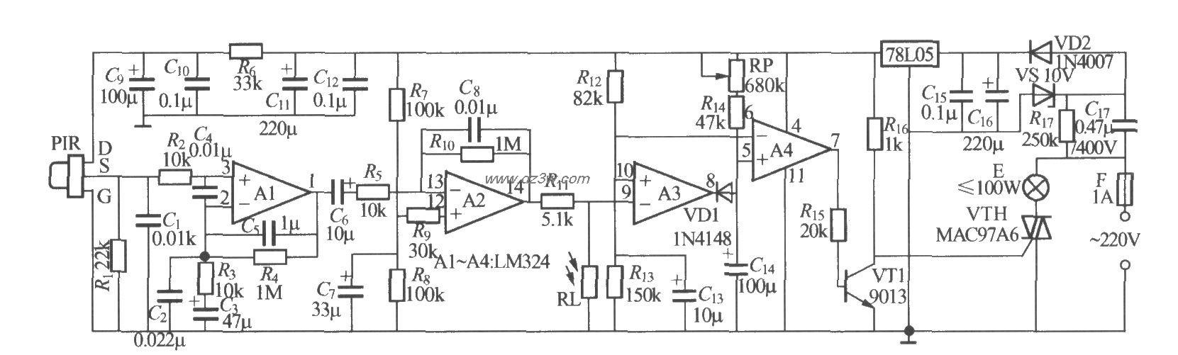 热释电红外感应自动灯电