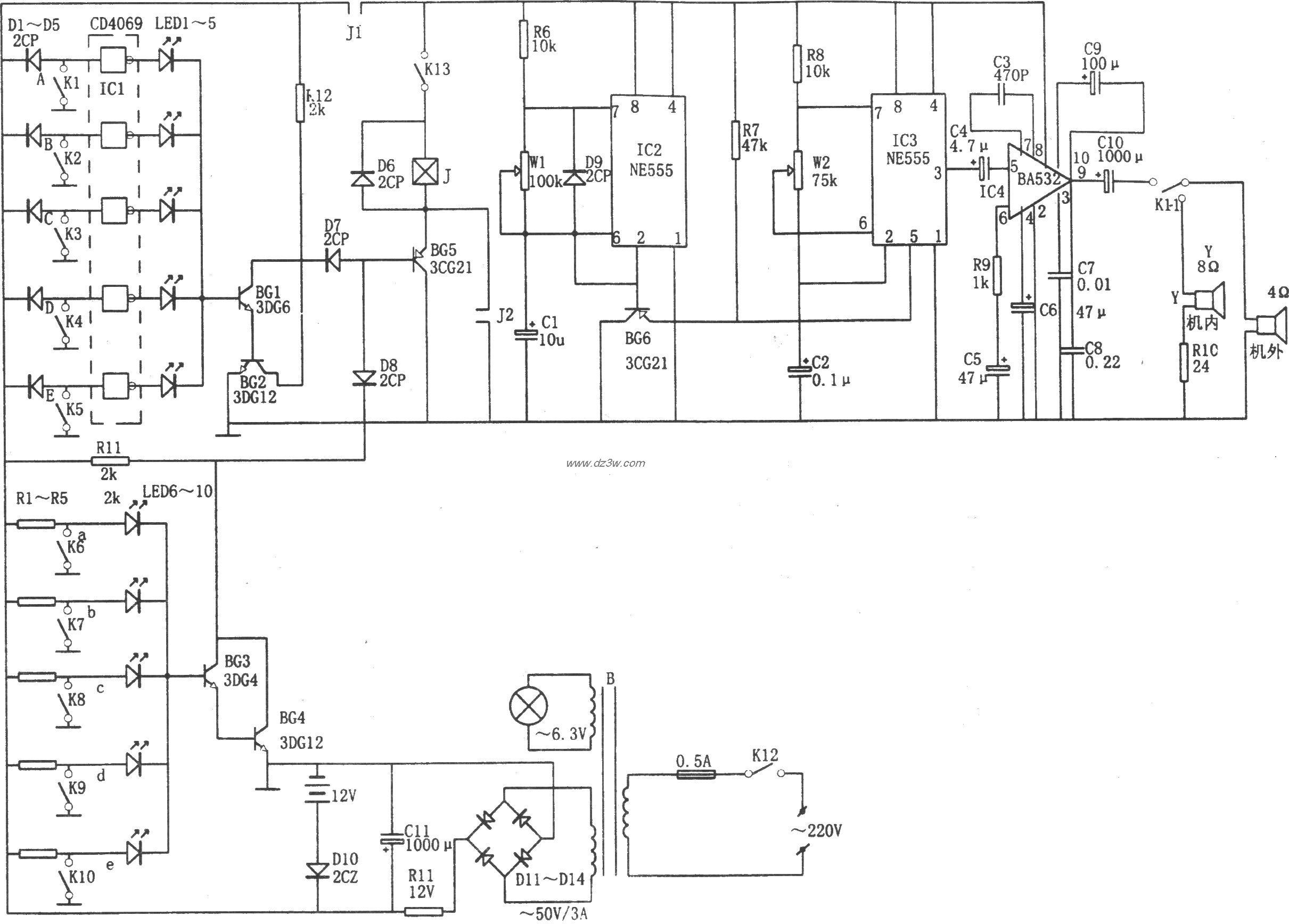 NE555构成的断路、短路多