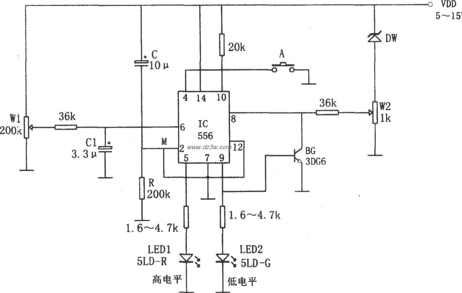 555构成的电源电压高、低
