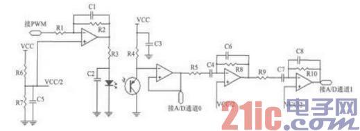 uPSD3234反射式红外心率检测仪电路图
